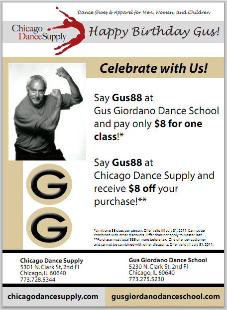 Gus Giordano, dance promotion, Chicago Dance Supply, dance class, dance apparel