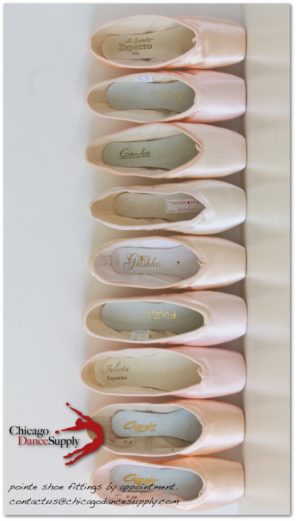 Pointe shoes at Chicago Dance Supply