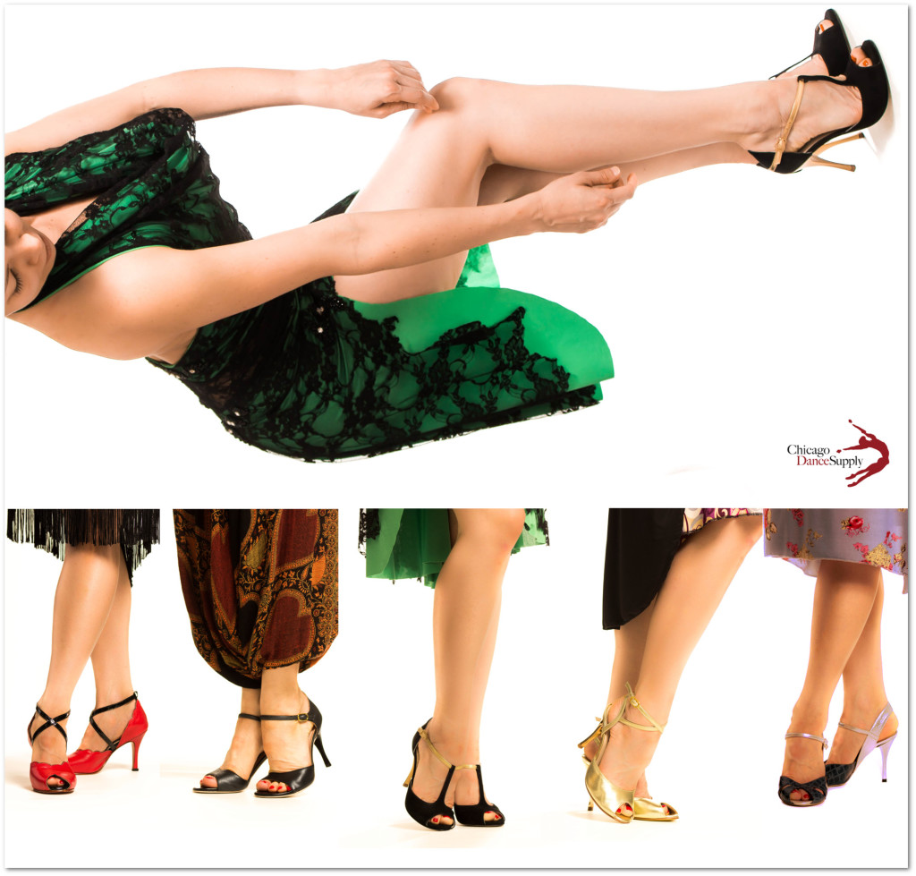 Photo:  Danielle Scanlon wears Argentine tango shoes and apparel from Chicago Dance Supply