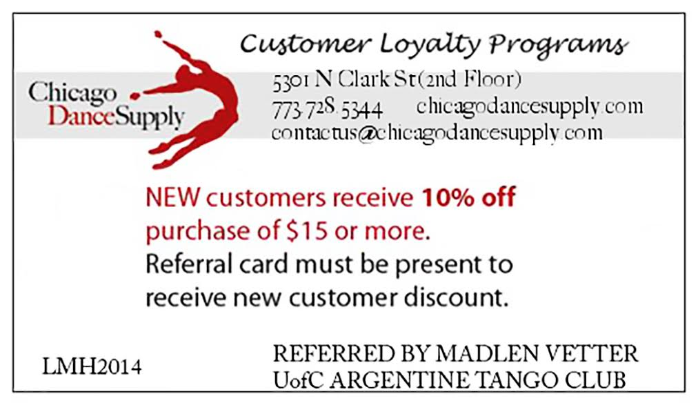 New UChicago dancers! Please present this card at the register to enjoy 10% off your first purchase at Chicago Dance Supply!
