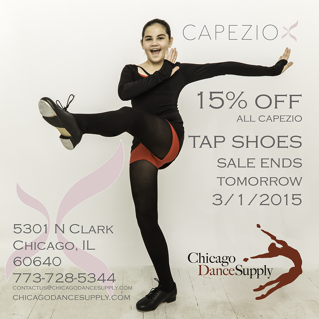 Sydney wears Capezio tap shoes, tights, leotard, shorts and top at Chicago Dance Supply