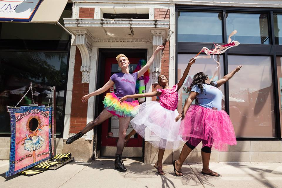 #Btutucool (aka Bryan) and Dom share the love of tutus, tights, and tiaras outside Chicago Dance Supply