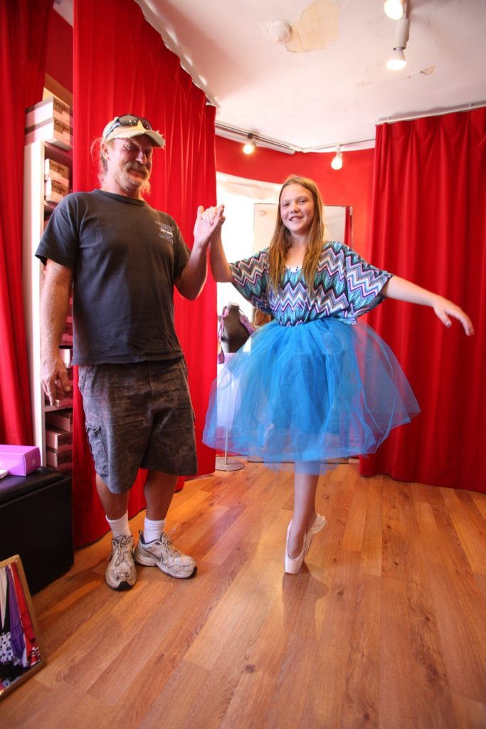 Cheyenne and her father at Chicago Dance Supply