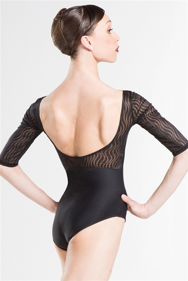 Helena is a Wear Moi 1/2 sleeve leotard featuring ultra-soft and durable wave mesh sleeves. Square neck cut and a beautiful open mid back with mesh detail. Fully Front lined.