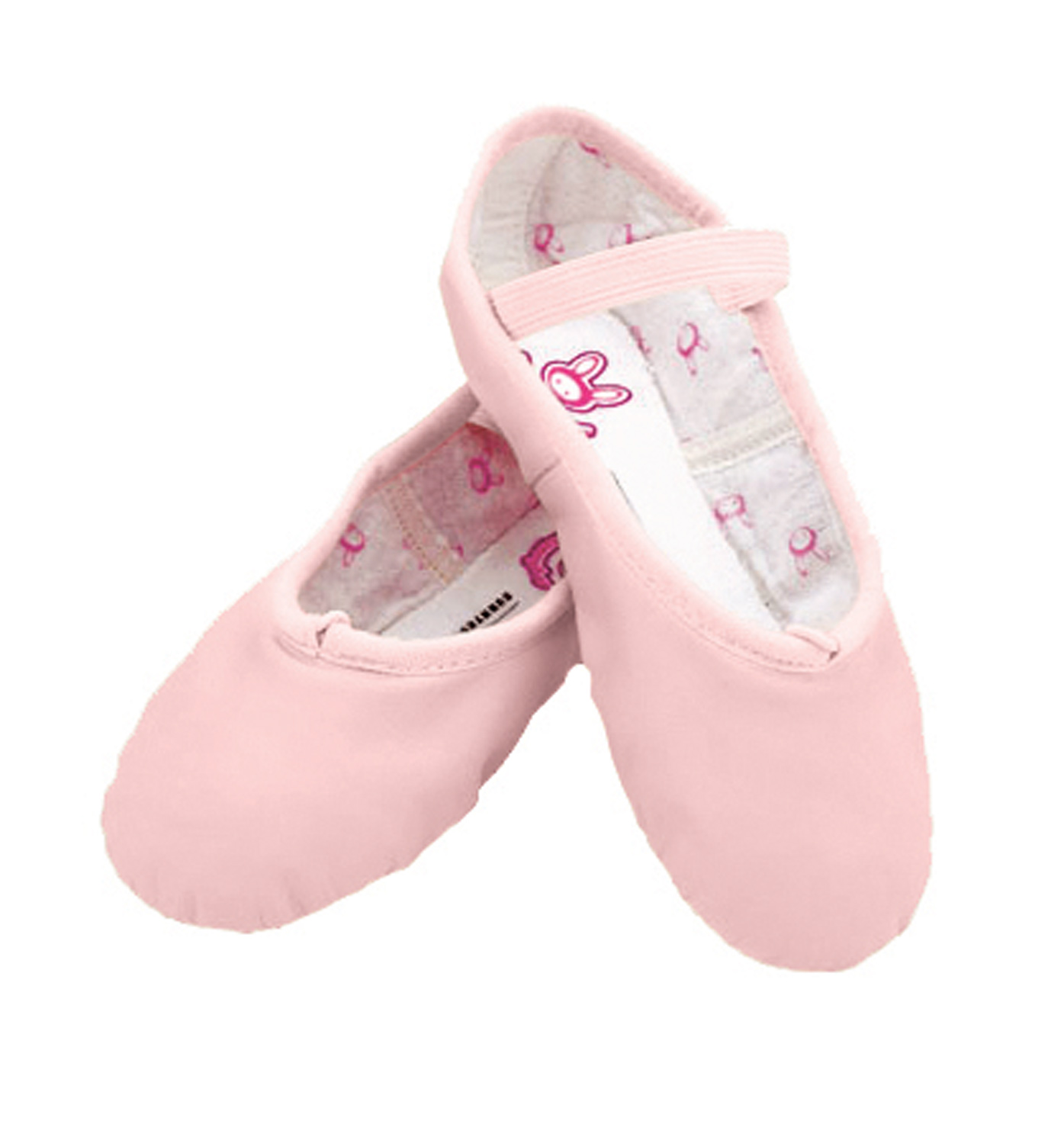 The full leather outsole is designed to add resistance to the working foot for strengthening, while the soft swan lining offers complete comfort. She'll also love the fun bunny character inside the shoe that offers a space for her to write her name. Bloch bunny hop ballet features a full leather upper, cotton lining with bunny print, cotton drawstring, suede full sole and attached elastic strap over the instep.